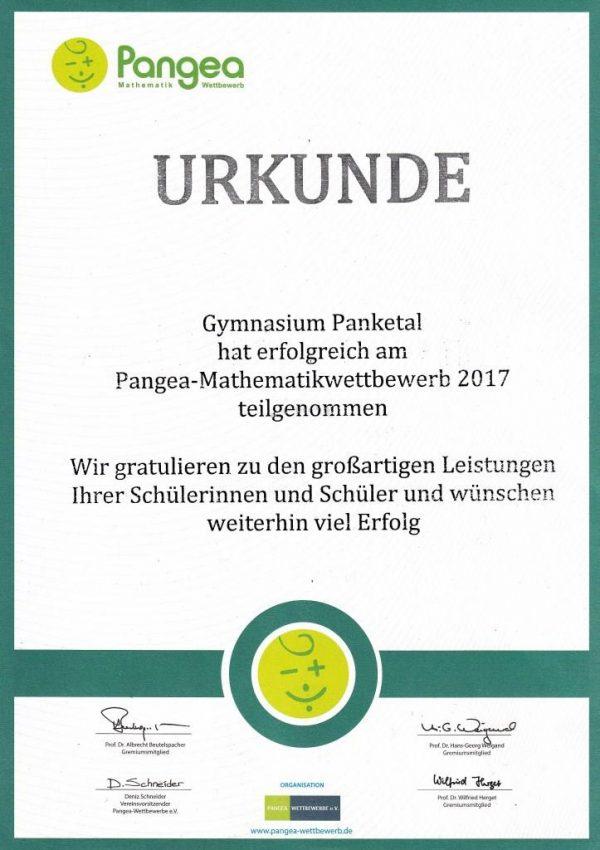 Pangea-Mathematikwettbewerb - erfolgreiche Teilnahme des Gymnasiums Panketal