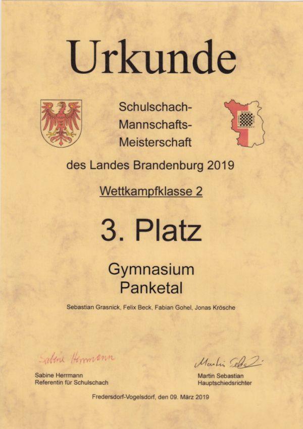 Schulschachpokal Land Brandenburg 3. Platz